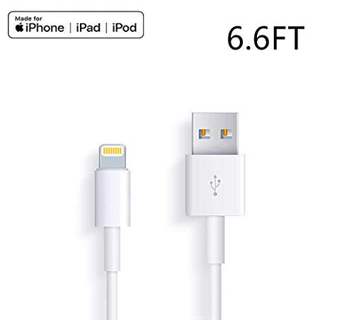Apple iPhone/iPad Charging/Charger Cord Lightning to USB Cable[Apple MFi Certified] Compatible iPhone X/8/7/6s/6/plus/5s/5c/SE,iPad Pro/Air/Mini,iPod Touch(White/6.6FT) Original Certified