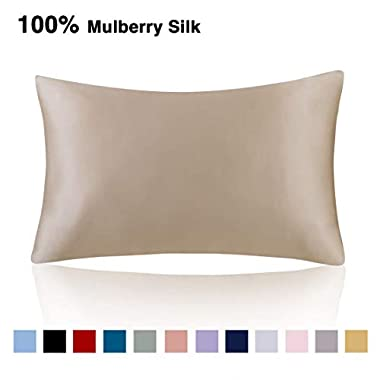 Ethereal Lomoer 100% Natural Pure Silk Pillowcase for Hair and Skin, Both Side 19mm, Hypoallergenic, 600 Thread Count, Luxury Smooth Satin Pillowcase with Hidden Zipper (Taupe, Standard Size)