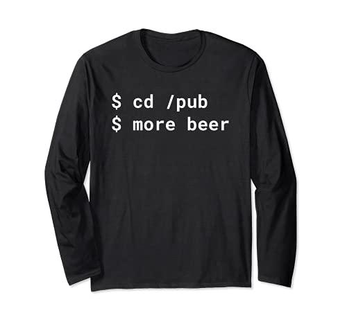cd /pub più birra Pun White Design per la linea di comando hacker Maglia a Manica