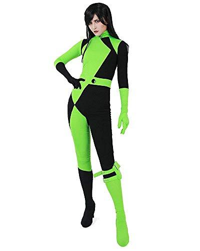 Kim Possibile Shego Cosplay Costume su Misura di Lycra del Vestito Spandex Supereroe Tute e Tute da Palestra Catsuit Halloween per I Bambini di età (Style 1, M)
