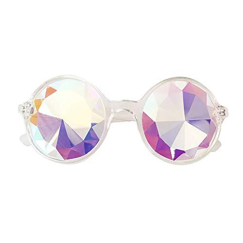 Dorical Unisex Sonnenbrillen, Damen Kaleidoskop-Sonnenbrille lustig Design Brille Schwärmen Festival Party EDM Sonnenbrille gebeugten Linse, Herren Ferien-Brille Sale(B)