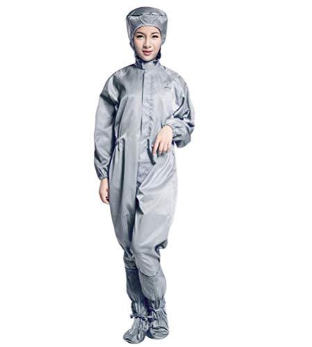 2 stuks herbruikbare beschermende kleding, Beschermende jassen met capuchon, elastische polsen en voetisolatie overtrekjassen, Fabriek Workshop veiligheidspak/Unisex,Gray,XL