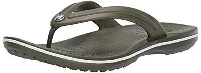 Crocs Crocband Flip Flop | Slip-on Sandals | Shower Shoes, army green/white, 8 US Men/ 10 US Women M US