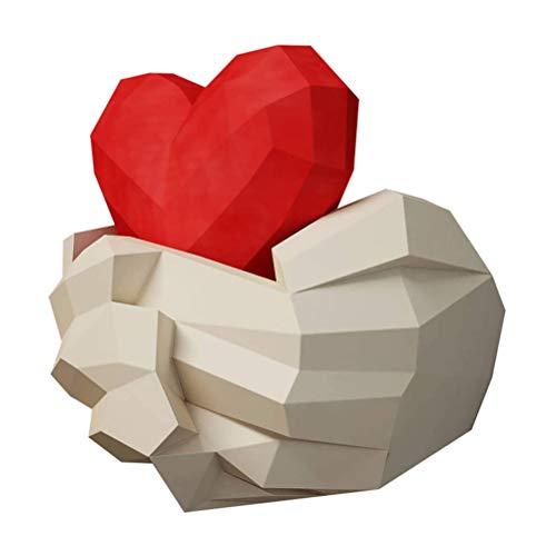 Tixiyu Paper Art - Escultura de origami en 3D, diseño de manos con corazón en 3D, ideal como regalo para el día de San Valentín, incluye manual en inglés, fácil de terminar