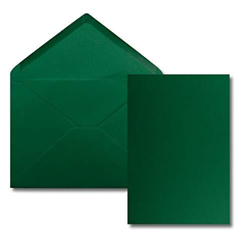 25 Stück Karte mit Umschlag Set - Einzel-Karten Din A5-14,8 x 21 cm dunkelgrün mit Brief-Umschlägen Din C5-15,4 x 22 cm dunkelgrün - Nassklebung