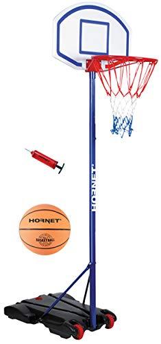HUDORA Kinder & Jugendliche Hornet Basketballständer 205 mit Ball und Pumpe, blau, 205 cm
