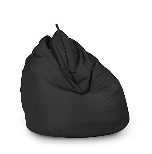 haus & garten Sitzsack Beanbag Indoor Outdoor für Kinder und Erwachsene viele Farben und Größen zur Auswahl (65x95, Schwarz)