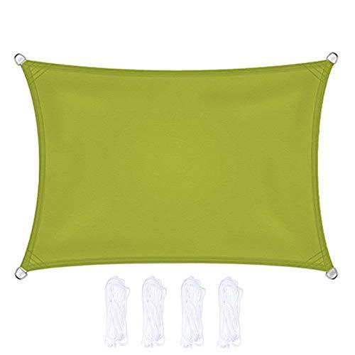 CENPENYA Tenda a Vela Rettangolare Traspirante Protezione Raggi UV Impermeabile e Resistente, Tenda a Vela per Giardino Balcone Terrazza (2x4m,Giallo Verde)