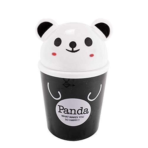TRIXES niedlicher Panda Mini Schreibtisch Papierkorb Tischmülleimer mit Schwingdeckel