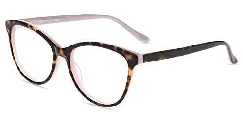 Firmoo Blaulichtfilter Brille Damen Katzenaugen, Blaufilter Computer Brille ohne Sehstärke Cateye Bildschirme Arbeitsplatzbrille Anti 400UVKopfschmerzen (Pink-Tortoise)