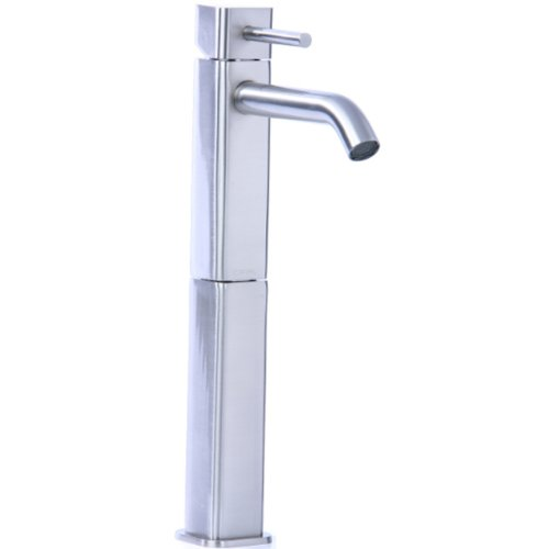 Cifial 224.101.620 Techno Quadra 25 Single Handle High Profile Lavatory Faucet, Satin Nickel
