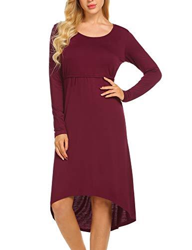 MAXMODA Stillnachthemd Damen Umstandskleid Rundhals Stillkleid Festlich Zum Stillen Nachtwäsche Wein Rot - 2