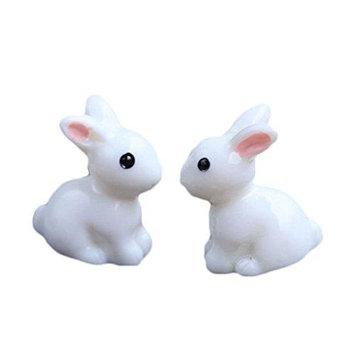 2x Milopon Micro Landschaft Deko Miniatur Hase aus Harz für Puppenhaus Puppenhausmöbel Gartenmöbel Deko Garten