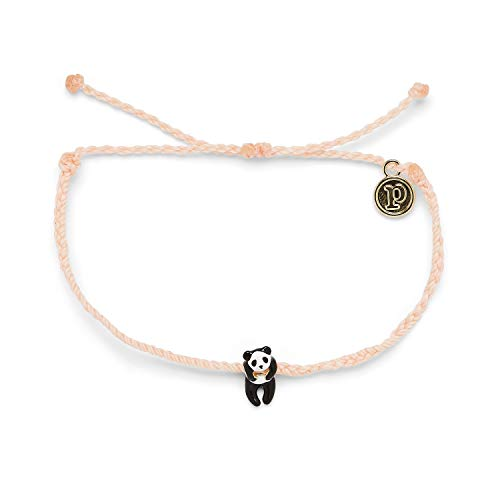 Pura Vida Gold Panda Bracelet - 100% Waterproof, Adjustable Band - Plated Brand Charm, Blush