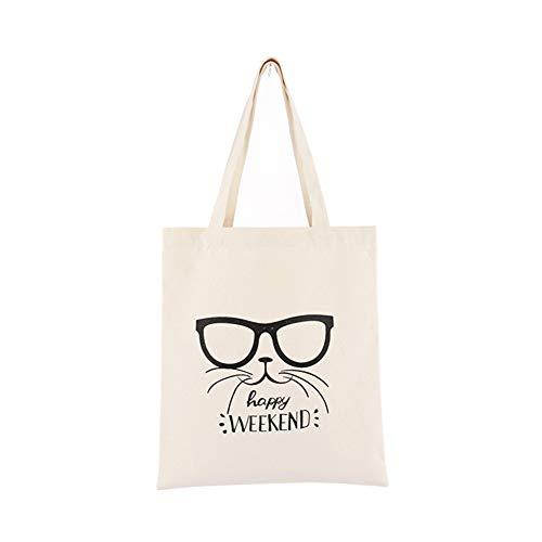 Daaimi Toile Chat Lunettes Impression Tote Bag Sacs de Courses réutilisable Favorable à l'environnement Cabas de Courses Shopping Bag Convient pour Femme Shopping Voyage (#2)