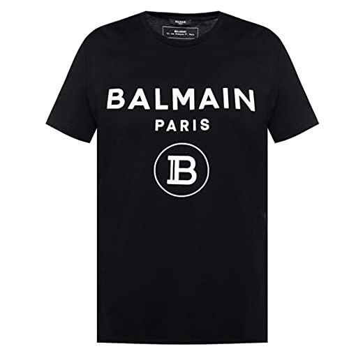 Balmain Paris T-Shirt mit beflocktem Logo, Schwarz, Schwarz , S