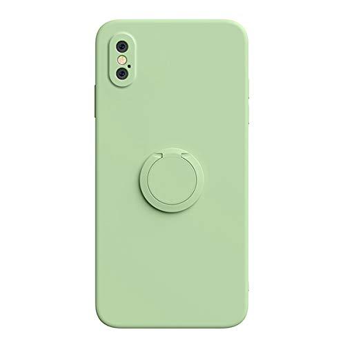 UBERANT Capa para iPhone XR, TPU macio de silicone líquido à prova de choque com anel de rotação de 360 graus e capa protetora antiderrapante para iPhone XR - verde claro
