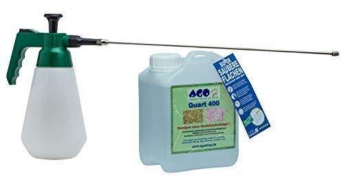 AGO ® Quart Komplett Set 2l Quart 400 Hochkonzentrat Grünbelagentferner + Druckluftspüher mit 50cm Messingverlängerung Profi Spezial 6 Bar