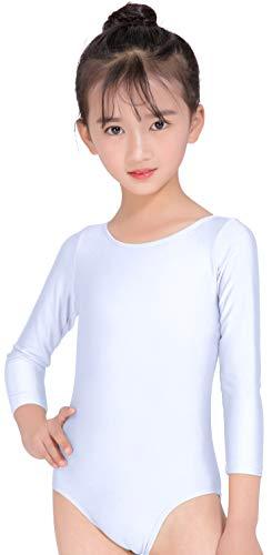 speerise Girls Long Sleeve Ballet Dance Gymnastics Leotard, White, M