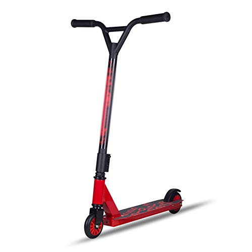 Hou Hexin Trade Stunt Habilidades Push Scooter-Scooter-niños Adulto 360 Grados Vara Fija Freestyle Scooter funscooter (Color : Red)