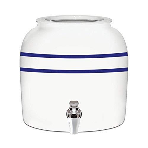 Brio Striped Porcelain Ceramic Water Dispenser Crock with Faucet - LEAD FREE (Blue Stripe)