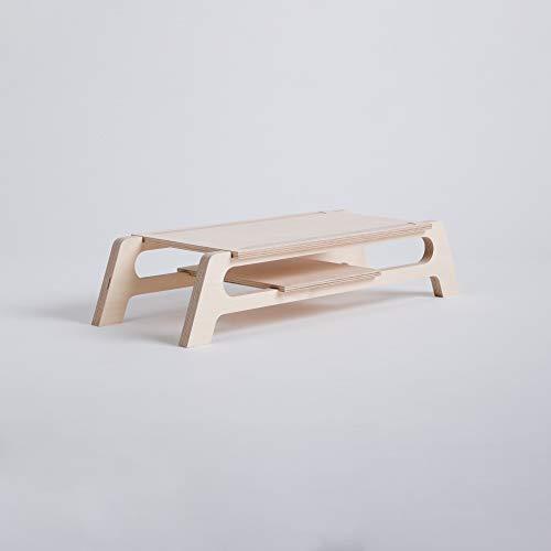 Bildschirm-Unterstützung aus Holz, hebt den Bildschirm und hat Platz, um den Schreibtisch zu organisieren, Videokonferenz,Telearbeit, Heimbüro