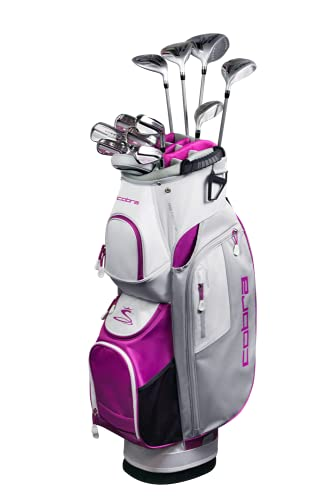 Cobra Golf 2021 Fly XL Complete Set Cart Bag Silver-Plum (Women's Right Hand, Graphite Woods-Graphite Irons, Ladies...