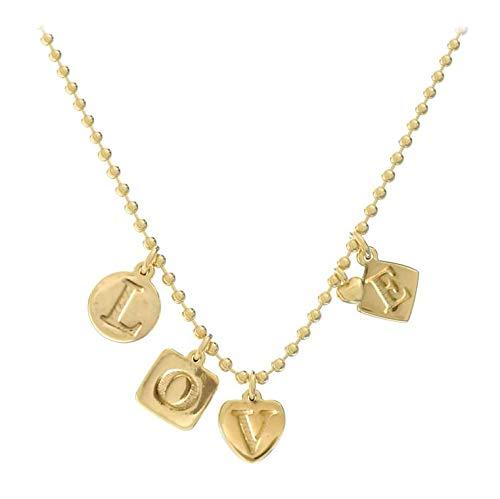 Lora di Lora Halskette Rebel Love. Kurze Halskette, in der Länge verstellbar 18K Vermeil Gold für Frauen 36 cm + 5 cm
