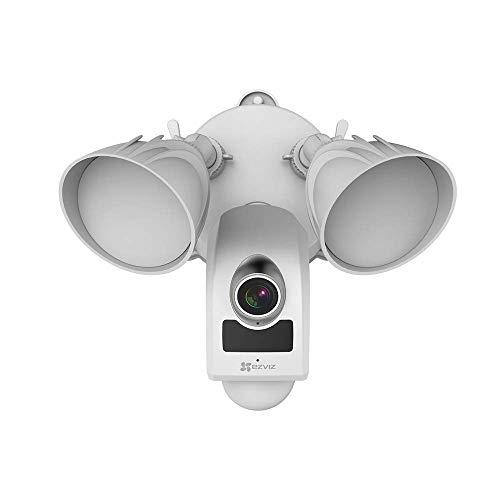 Leicke Cámara de seguridad con reflector inalámbrica HD de Alexa con función de intercomunicador (Nube cómo anillo intermitente) + Guardar gratis
