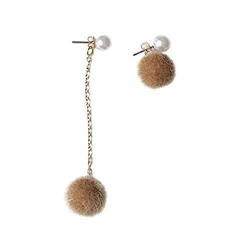 Xi-Link Nettes Plüschhaar, Asymmetrische Ohrringe, Neuer Netzrotem Ohrnagel (Color : Grey)