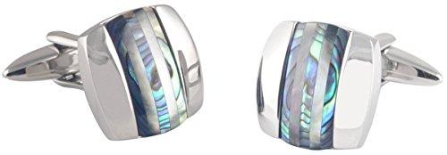 David Van Hagen Argent/Vert Curved Place Abalone et Cats Eye Stripe boutons de manchette de