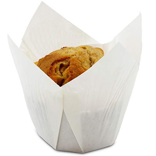 Cupcake Liners Tulip 100-Piece - Bulk Decorative Paper Cupcake Muffin Baking Cups Weddings, Birthdays, Baby Showers, White