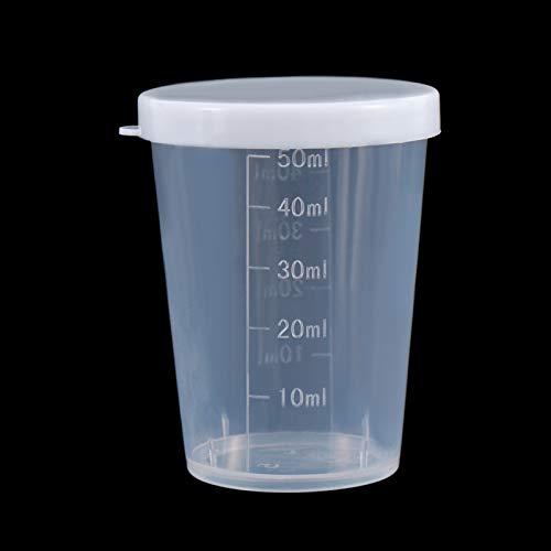 Jarras medidores 10 unids 50 ml Medicina Medida MEDICIÓN CUPAS CON LOS PAPOS BLANCOS CAPILLO CORRECTAR LÍQUIDO CULTE MEDION CULTIVO CONTENEDOR (Color : Clear)