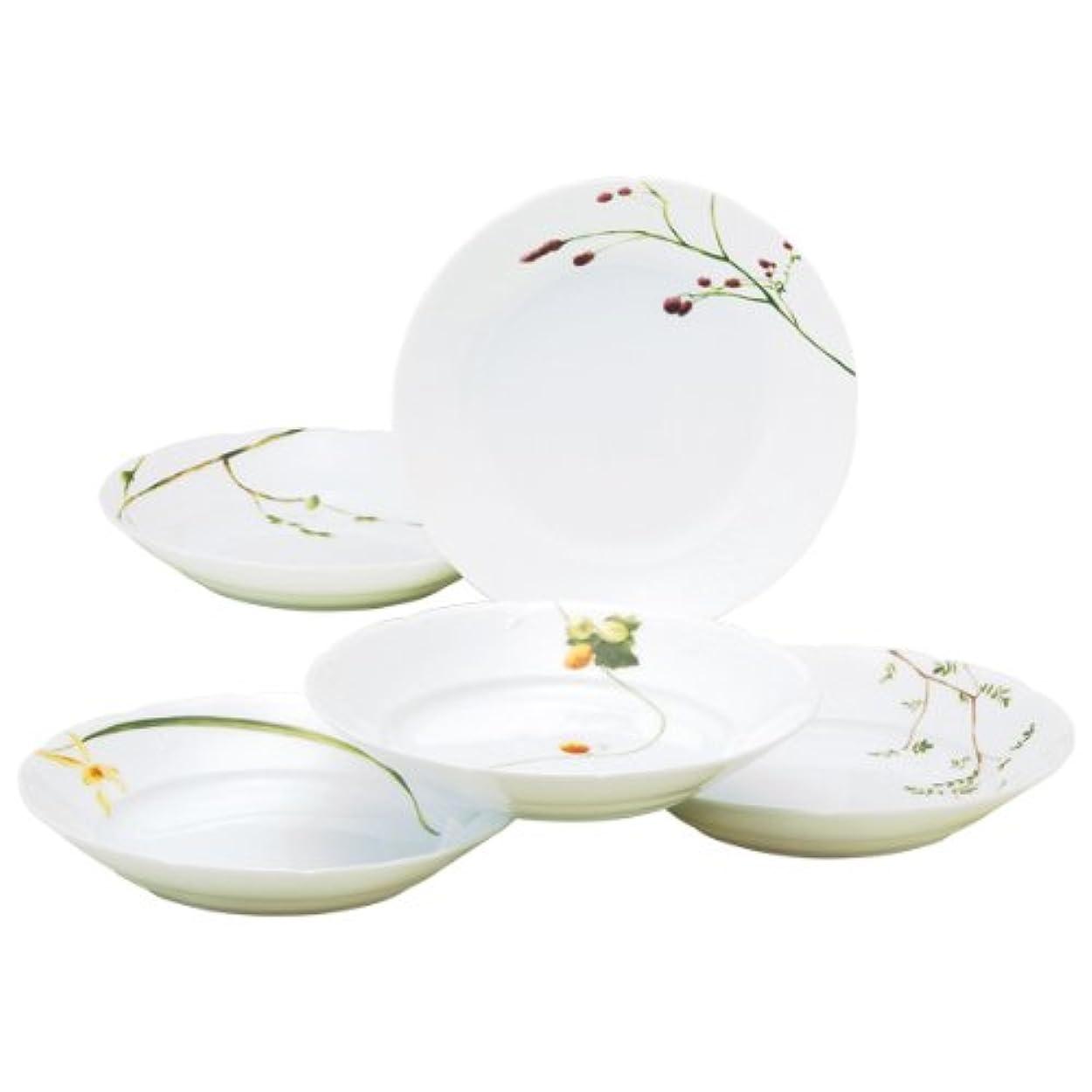 店主印刷する極めてNARUMI(ナルミ) プレート 皿 セット 里花暦(さとはなごよみ) 花柄 径21cm 5枚セット カレー&パスタ 電子レンジ温め対応 日本製 40912-32842