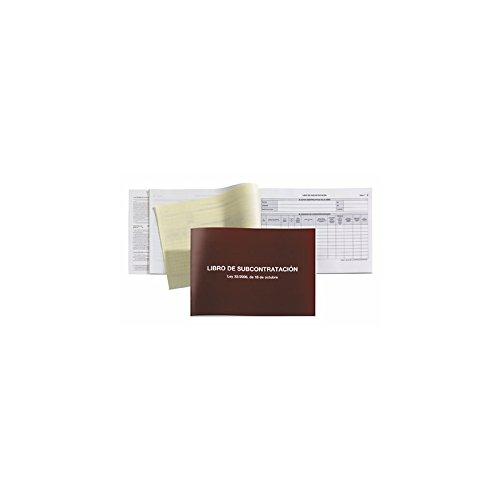 MIQUELRIUS 5589 - Libro de Subcontratación - Idioma Gallego/Español 20 Hojas papel autocopiable 56g, Tamaño A4 apaisado, Cubierta Cartulina