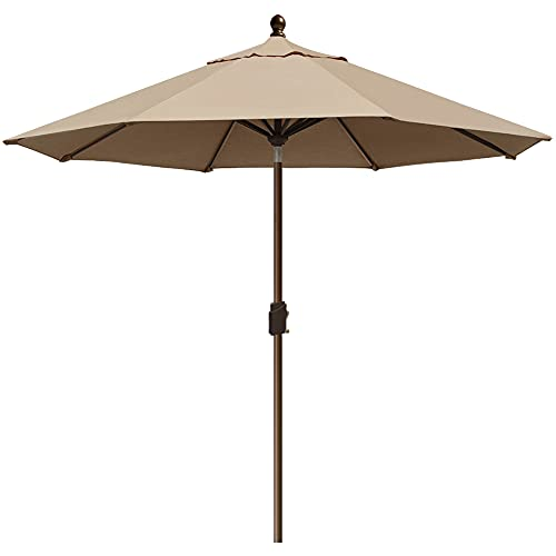 EliteShade Sunbrella 9Ft Market Umbrella Patio Outdoor Table Umbrella With Ventilation And 5 Years Non-Fading Top,Heather Beige