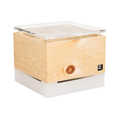 ZirbenLüfter ® Cube Salzburg cristall für ca. 40 m2 | Luftbefeuchter | Luftreiniger aus Zirbenholz | der Verdunsterbehälter (1l) ist transluszent und die Abdeckplatte glasklar mit Blume des Lebens |