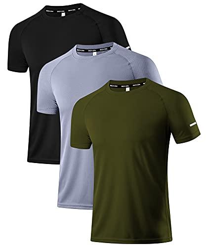 Holure Herren 3er Pack Sports Atmungsaktiv Schnelltrocknend Kurzarm T-Shirts Schwarz/Grau/Grün L EU L=US M