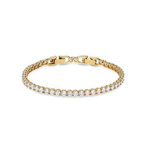 Swarovski Women's Tennis Deluxe Bracelet, Brilliant White Crystals with Gold-tone Plated Metal