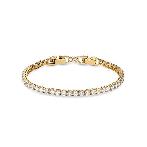 Swarovski Tennis Deluxe Armband, Weiß, vergoldet