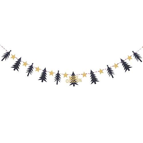 Tinksky - Striscione fai da te con alberi di pino, ghirlande glitterate a stelle, decorazione per la casa e la festa 3M