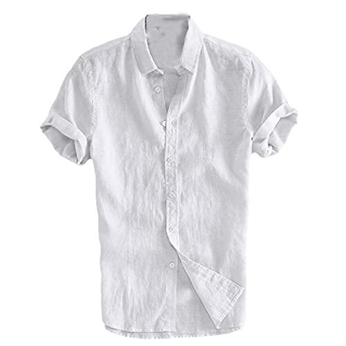 Elegante camiseta masculina Tops Casual Camisas Hombres Sociales Camisas Vestido Botón Gire abajo Collar Slim Fit Camisa, blanco, L
