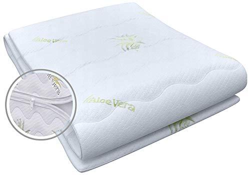 Best For You Matratzenbezug Aloe Vera geeignet für Matratzen 14 cm - 16 cm für Allergiker 3-seitiger Reißverschluss Bezug für Matratzen von 60x120x14-16 cm bis 200x200x14-16 cm (140 x 200 cm)