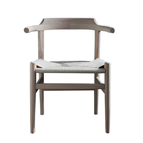Hans Wegner Esszimmerstuhl mit geschwungenen Armlehnen Esche natur Rattan Sitzfläche