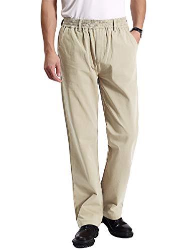 IDEALSANXUN Men's Casual Relaxed Fit Elastic Waist Twill Pant (Light Khaki(Twill), 36)