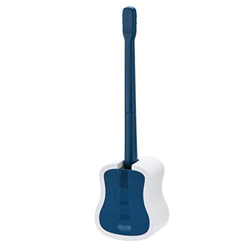 Escobilla para Inodoro La manija Larga de la Pared del Cepillo del Inodoro de la Guitarra Viene con una Base Que se Puede Colgar y Puede soportar el Juego del Cepillo de baño (Azul/Gris) Escobillero