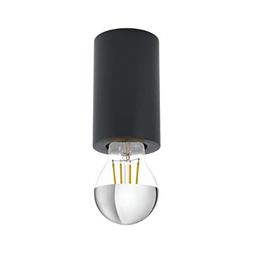 EGLO Deckenleuchte Saluzzo, 1 flammige Aufbauleuchte aus Stahl, Deckenlampe in Schwarz, Aufbaulampe mit E27 Fassung, Ø 6,5 cm