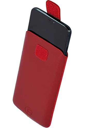 Favory Tasche Etui kompatibel mit TIPTEL Ergophone 6260 Hülle aus echtes Leder Schutzhülle (Lasche mit Rückzugfunktion) in rot