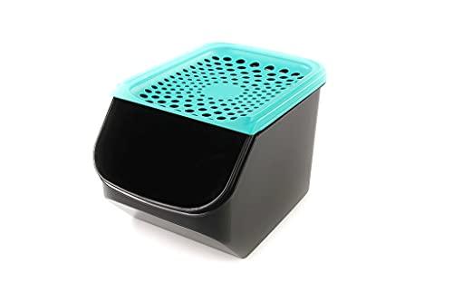 Tupperware Organizador Modular de 5,5L para cebollas y ajos Negro/Turchese Oscuro