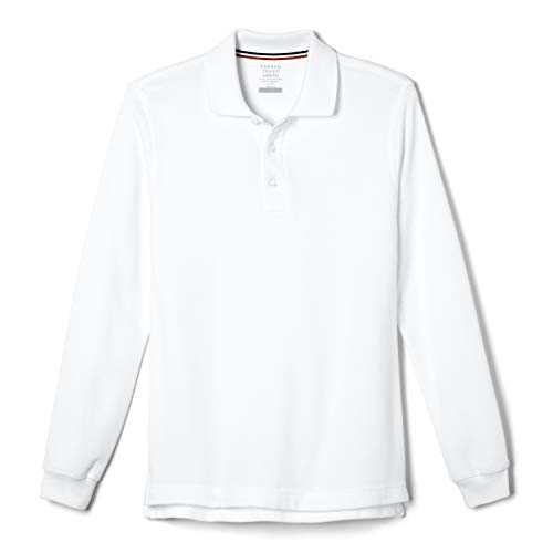 French Toast Boys' Little Long Sleeve Pique Polo Shirt (Standard & Husky), White, 6-7
